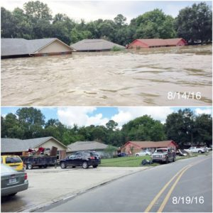 House during and after Flooding